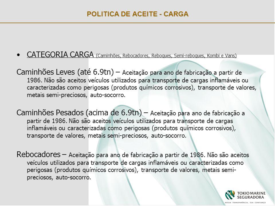 POLITICA DE ACEITE - CARGA CATEGORIA CARGA (Caminhões, Rebocadores, Reboques, Semi-reboques, Kombi e Vans) Caminhões Leves (até 6.9tn) – Aceitação para ano de fabricação a partir de 1986.