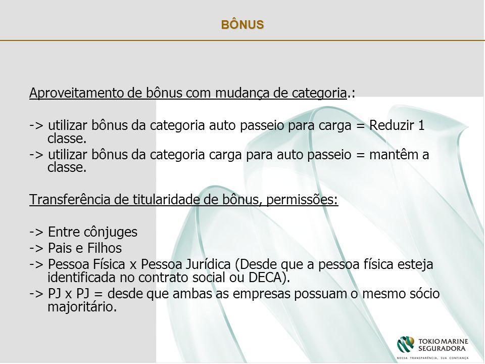 BÔNUS Aproveitamento de bônus com mudança de categoria.: -> utilizar bônus da categoria auto passeio para carga = Reduzir 1 classe.