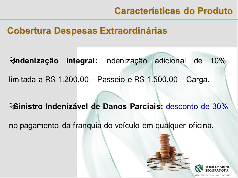 Cobertura Despesas Extraordinárias  Indenização Integral: indenização adicional de 10%, limitada a R$ 1.200,00 – Passeio e R$ 1.500,00 – Carga.
