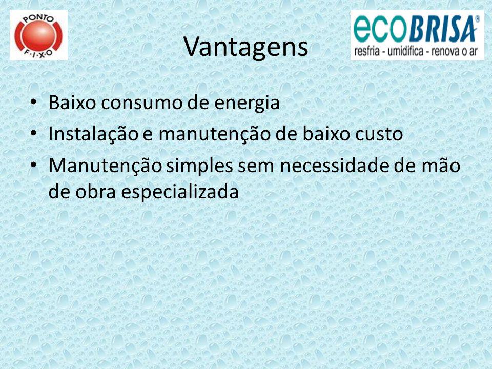 Vantagens Baixo consumo de energia Instalação e manutenção de baixo custo Manutenção simples sem necessidade de mão de obra especializada