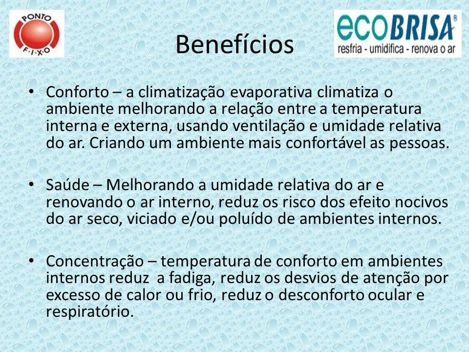 Benefícios Conforto – a climatização evaporativa climatiza o ambiente melhorando a relação entre a temperatura interna e externa, usando ventilação e