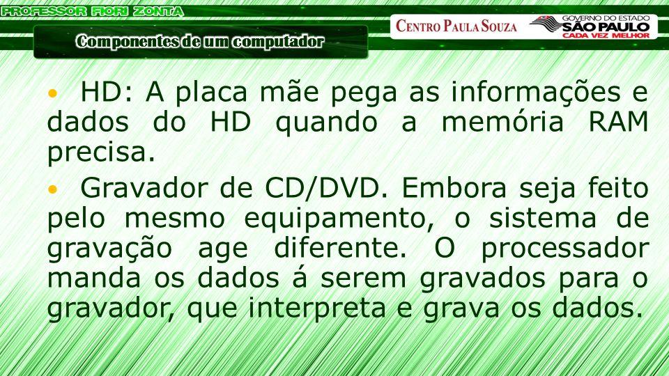 HD: A placa mãe pega as informações e dados do HD quando a memória RAM precisa. Gravador de CD/DVD. Embora seja feito pelo mesmo equipamento, o sistem