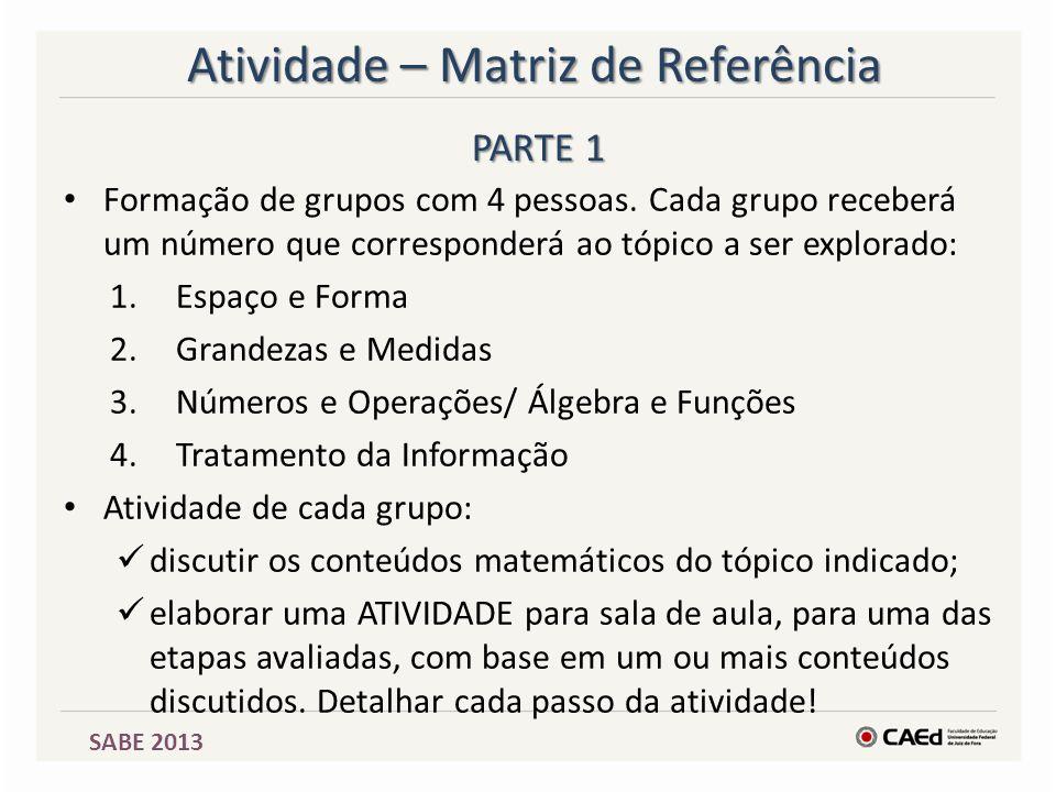 SABE 2013 Atividade – Matriz de Referência Formação de grupos com 4 pessoas. Cada grupo receberá um número que corresponderá ao tópico a ser explorado