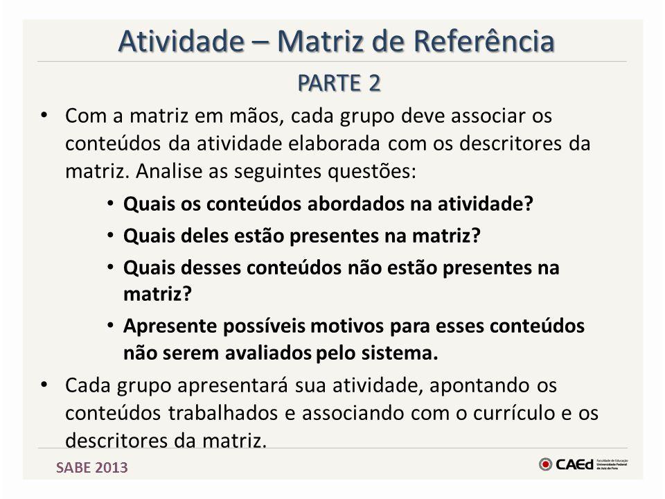 SABE 2013 Atividade – Matriz de Referência Com a matriz em mãos, cada grupo deve associar os conteúdos da atividade elaborada com os descritores da ma