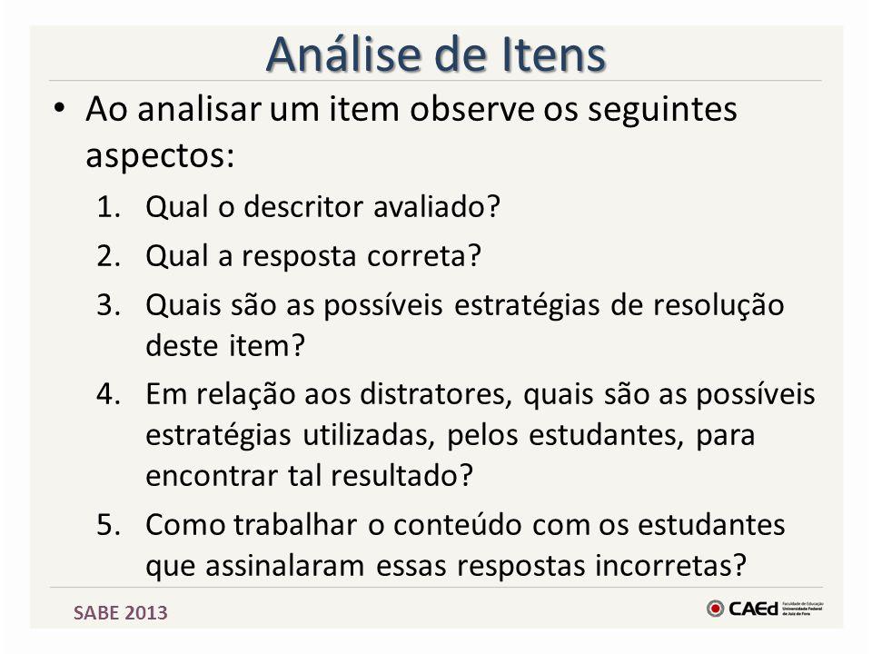 SABE 2013 Análise de Itens Ao analisar um item observe os seguintes aspectos: 1.Qual o descritor avaliado? 2.Qual a resposta correta? 3.Quais são as p