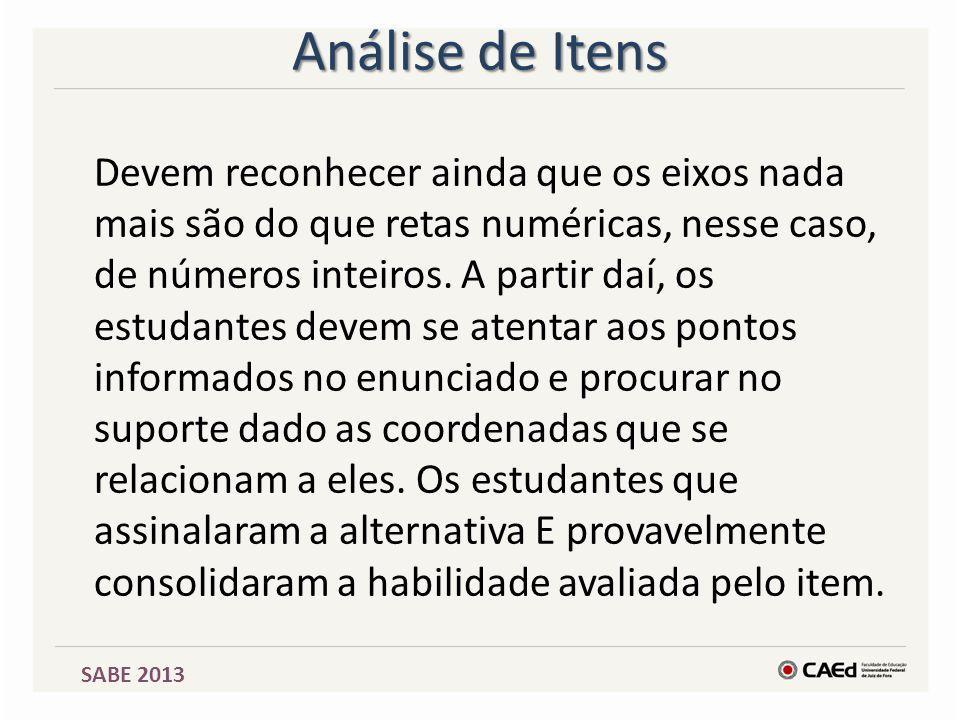 SABE 2013 Análise de Itens Devem reconhecer ainda que os eixos nada mais são do que retas numéricas, nesse caso, de números inteiros. A partir daí, os