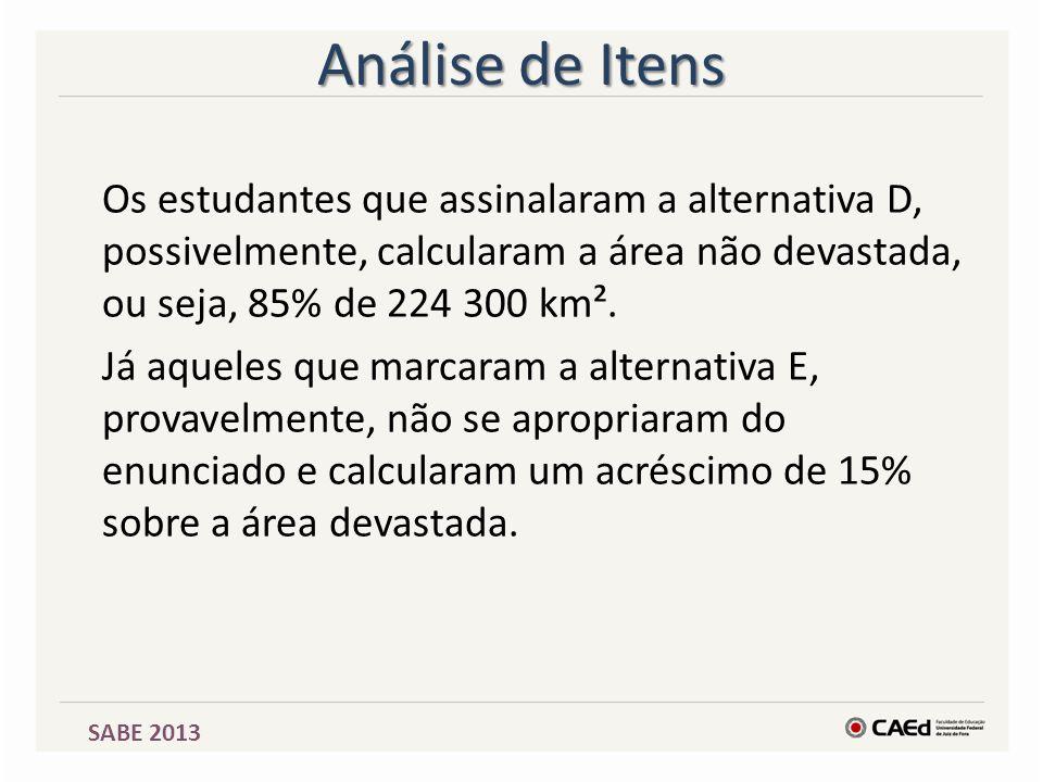 SABE 2013 Análise de Itens Os estudantes que assinalaram a alternativa D, possivelmente, calcularam a área não devastada, ou seja, 85% de 224 300 km².