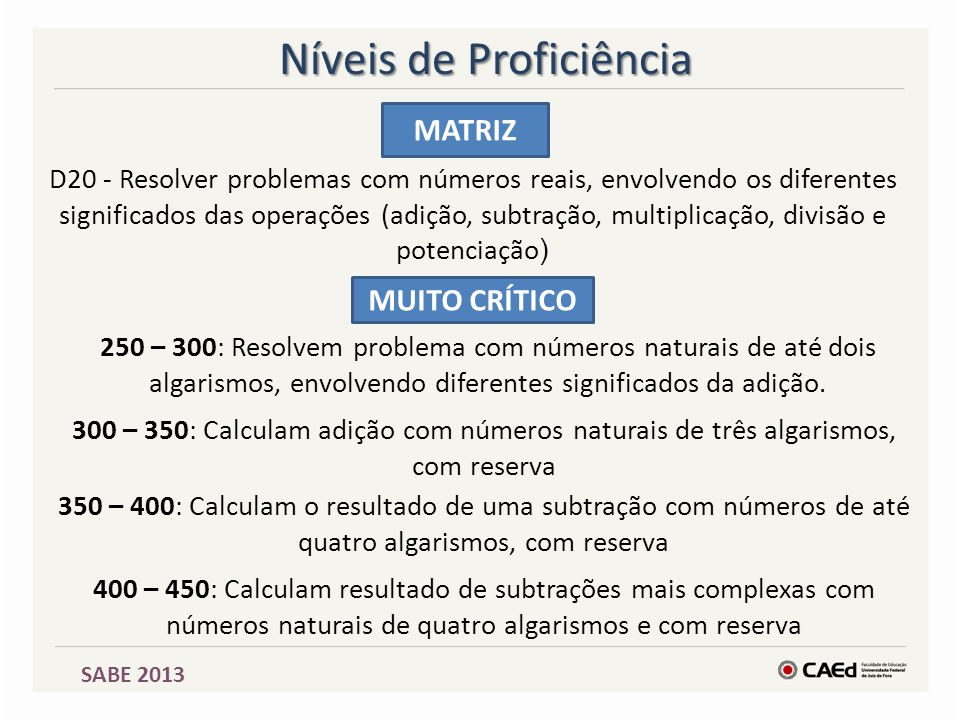 SABE 2013 MATRIZ D20 - Resolver problemas com números reais, envolvendo os diferentes significados das operações (adição, subtração, multiplicação, di