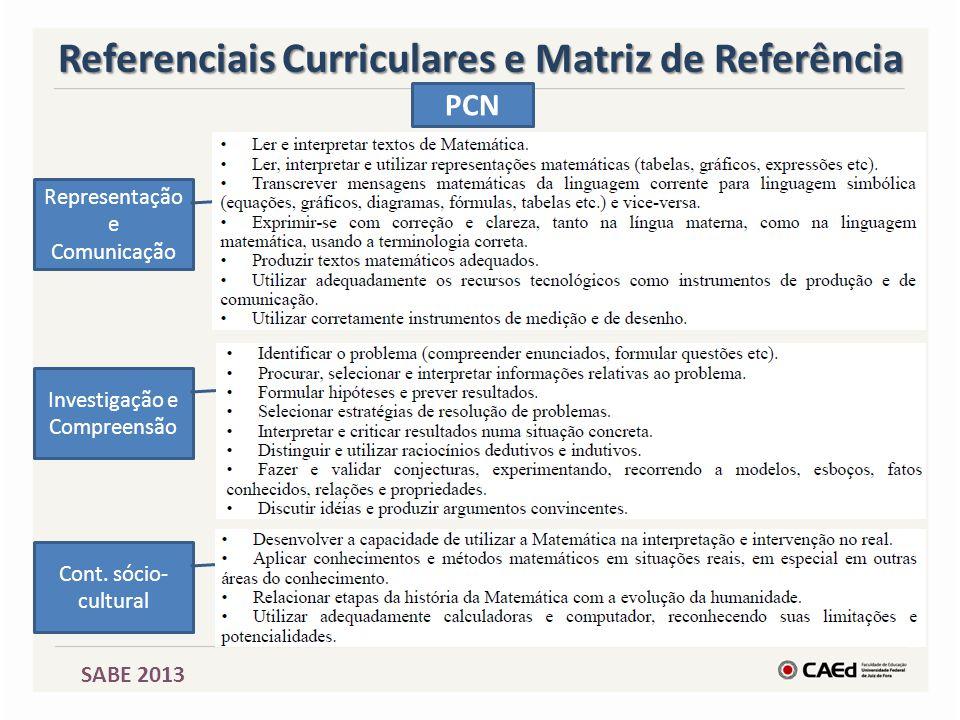 Cont. sócio- cultural Investigação e Compreensão Representação e Comunicação Referenciais Curriculares e Matriz de Referência PCN