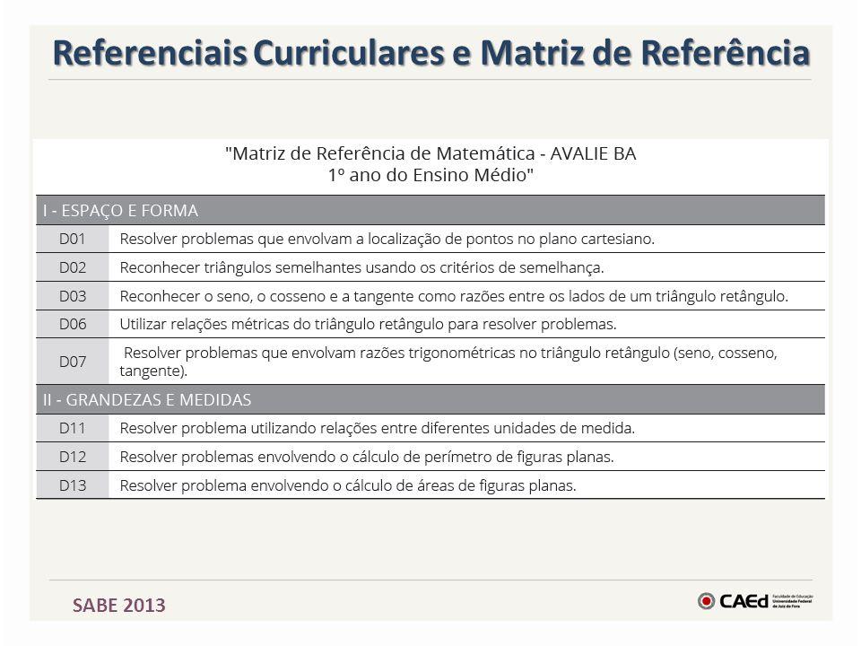 SABE 2013 Referenciais Curriculares e Matriz de Referência