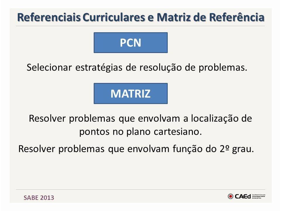 SABE 2013 Referenciais Curriculares e Matriz de Referência PCN Selecionar estratégias de resolução de problemas. MATRIZ Resolver problemas que envolva