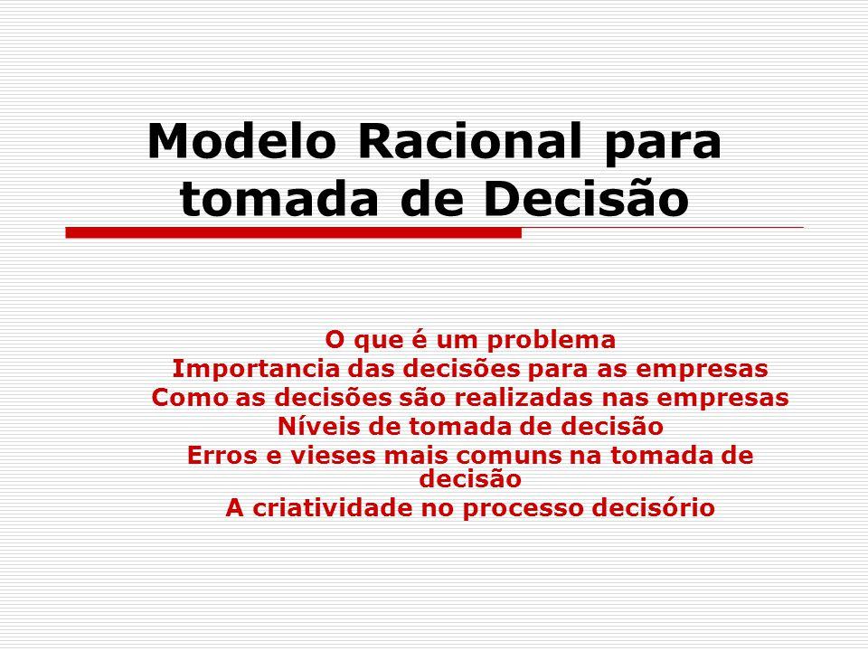Modelo Racional para tomada de Decisão O que é um problema Importancia das decisões para as empresas Como as decisões são realizadas nas empresas Níveis de tomada de decisão Erros e vieses mais comuns na tomada de decisão A criatividade no processo decisório