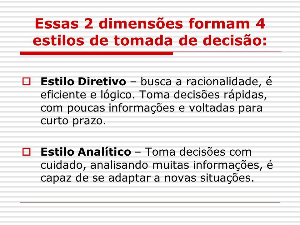 Essas 2 dimensões formam 4 estilos de tomada de decisão:  Estilo Diretivo – busca a racionalidade, é eficiente e lógico.