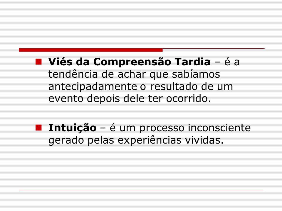 Viés da Compreensão Tardia – é a tendência de achar que sabíamos antecipadamente o resultado de um evento depois dele ter ocorrido.
