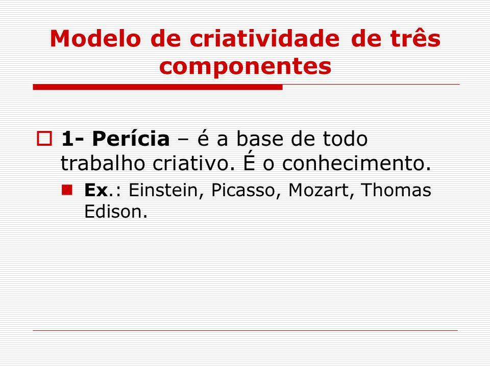 Modelo de criatividade de três componentes  1- Perícia – é a base de todo trabalho criativo.
