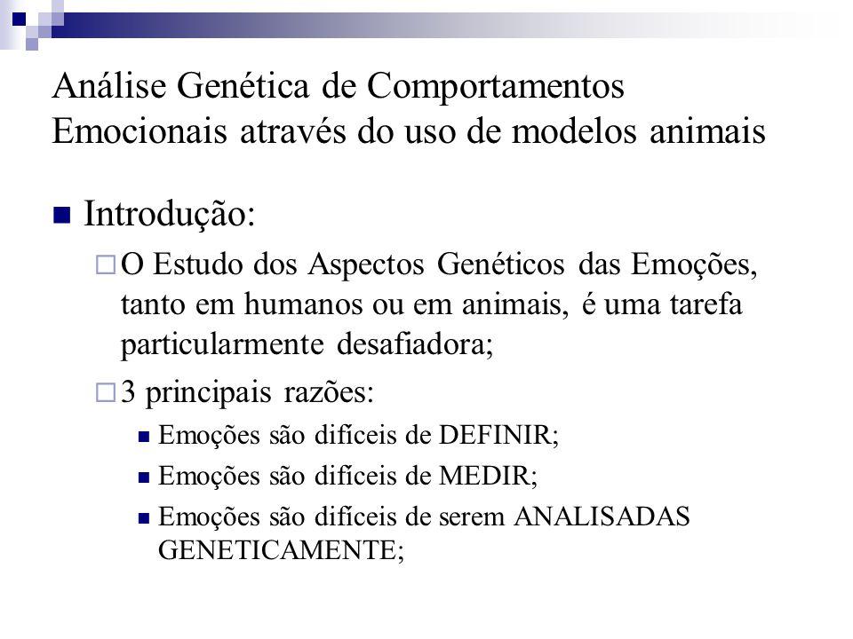 Análise Genética de Comportamentos Emocionais através do uso de modelos animais Introdução:  O Estudo dos Aspectos Genéticos das Emoções, tanto em hu