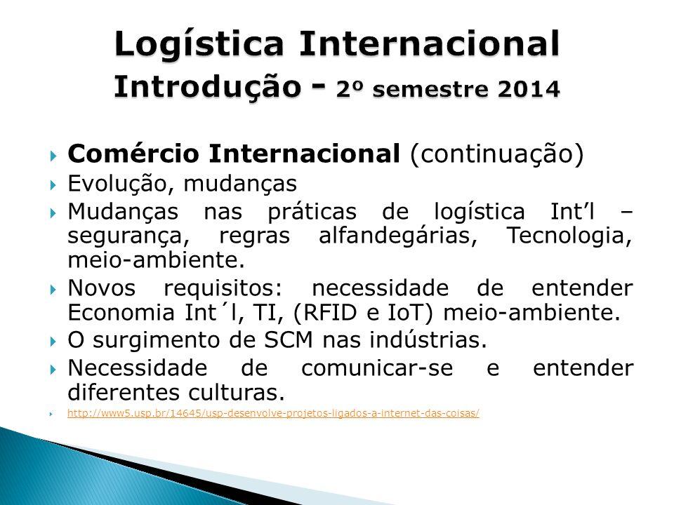  Comércio Internacional (continuação)  Evolução, mudanças  Mudanças nas práticas de logística Int'l – segurança, regras alfandegárias, Tecnologia, meio-ambiente.