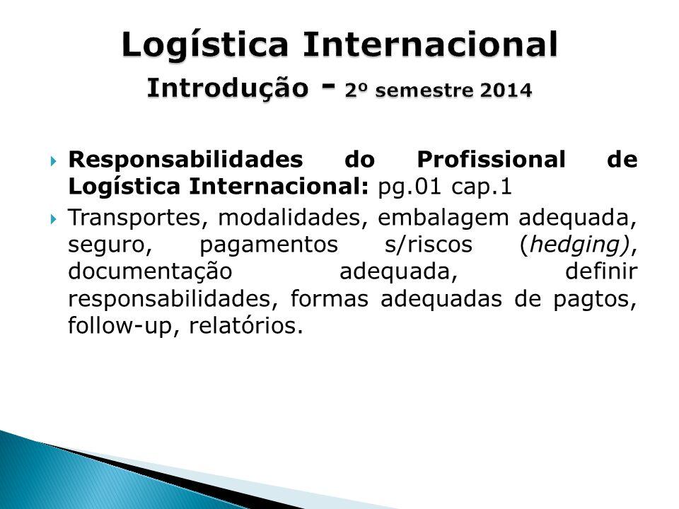  Responsabilidades do Profissional de Logística Internacional: pg.01 cap.1  Transportes, modalidades, embalagem adequada, seguro, pagamentos s/riscos (hedging), documentação adequada, definir responsabilidades, formas adequadas de pagtos, follow-up, relatórios.