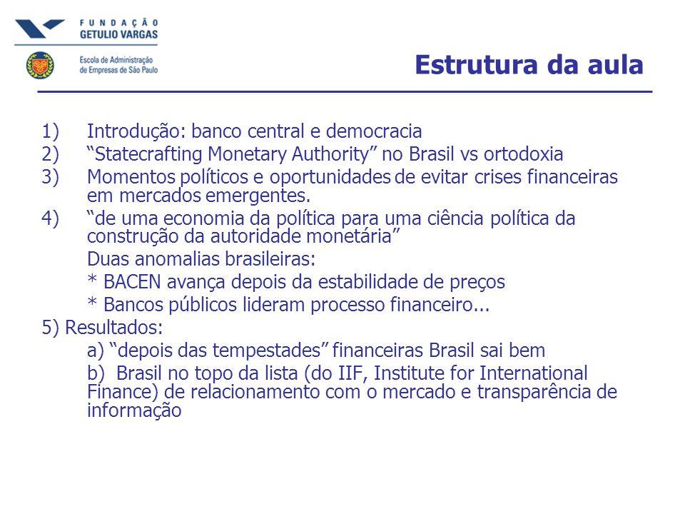 Estrutura da aula 1)Introdução: banco central e democracia 2) Statecrafting Monetary Authority no Brasil vs ortodoxia 3)Momentos políticos e oportunidades de evitar crises financeiras em mercados emergentes.