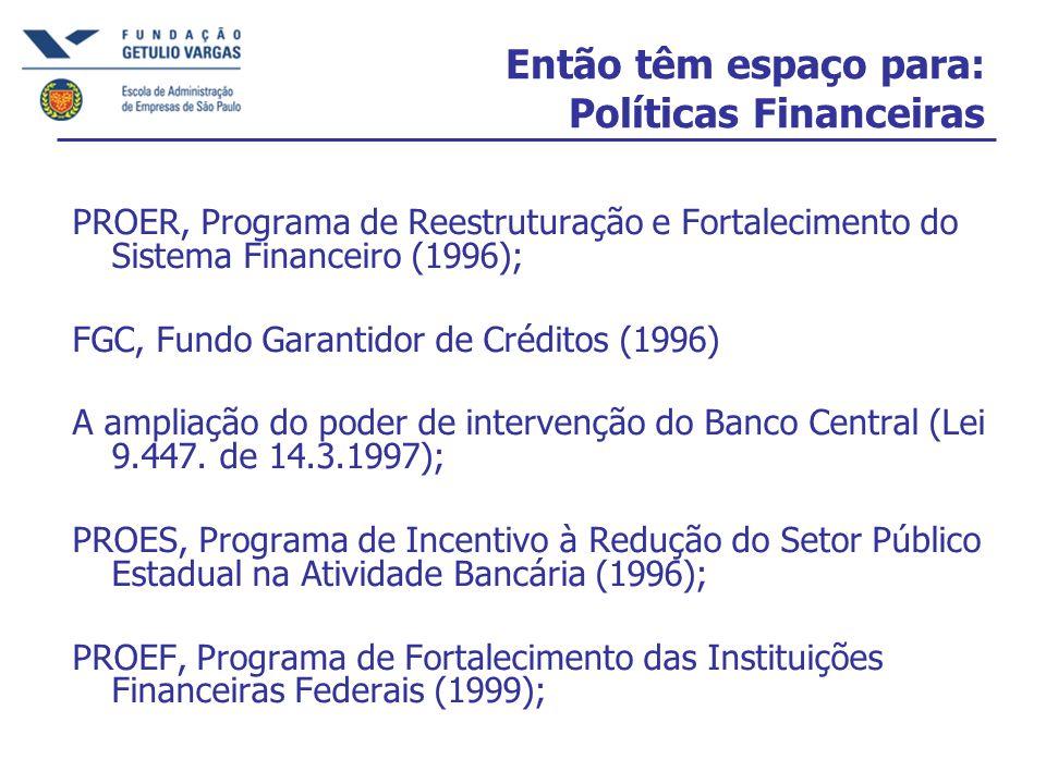 Então têm espaço para: Políticas Financeiras PROER, Programa de Reestruturação e Fortalecimento do Sistema Financeiro (1996); FGC, Fundo Garantidor de Créditos (1996) A ampliação do poder de intervenção do Banco Central (Lei 9.447.