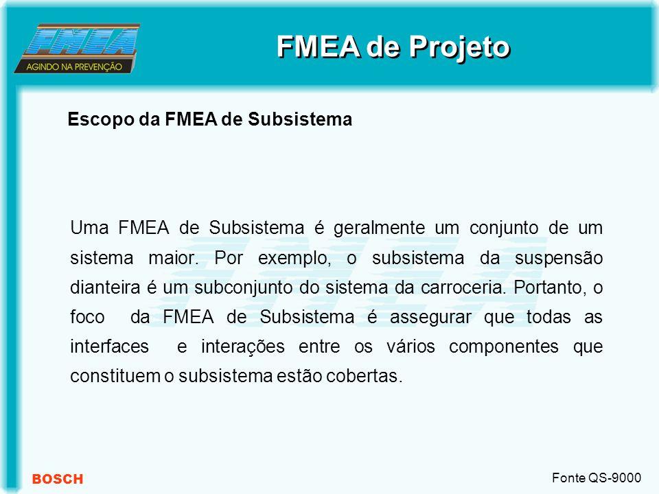 BOSCH Uma FMEA de Subsistema é geralmente um conjunto de um sistema maior.