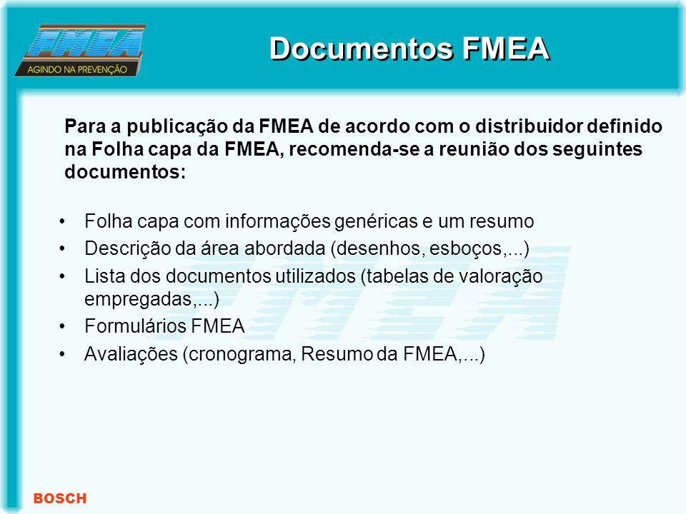 BOSCH Folha capa com informações genéricas e um resumo Descrição da área abordada (desenhos, esboços,...) Lista dos documentos utilizados (tabelas de valoração empregadas,...) Formulários FMEA Avaliações (cronograma, Resumo da FMEA,...) Para a publicação da FMEA de acordo com o distribuidor definido na Folha capa da FMEA, recomenda-se a reunião dos seguintes documentos: Documentos FMEA