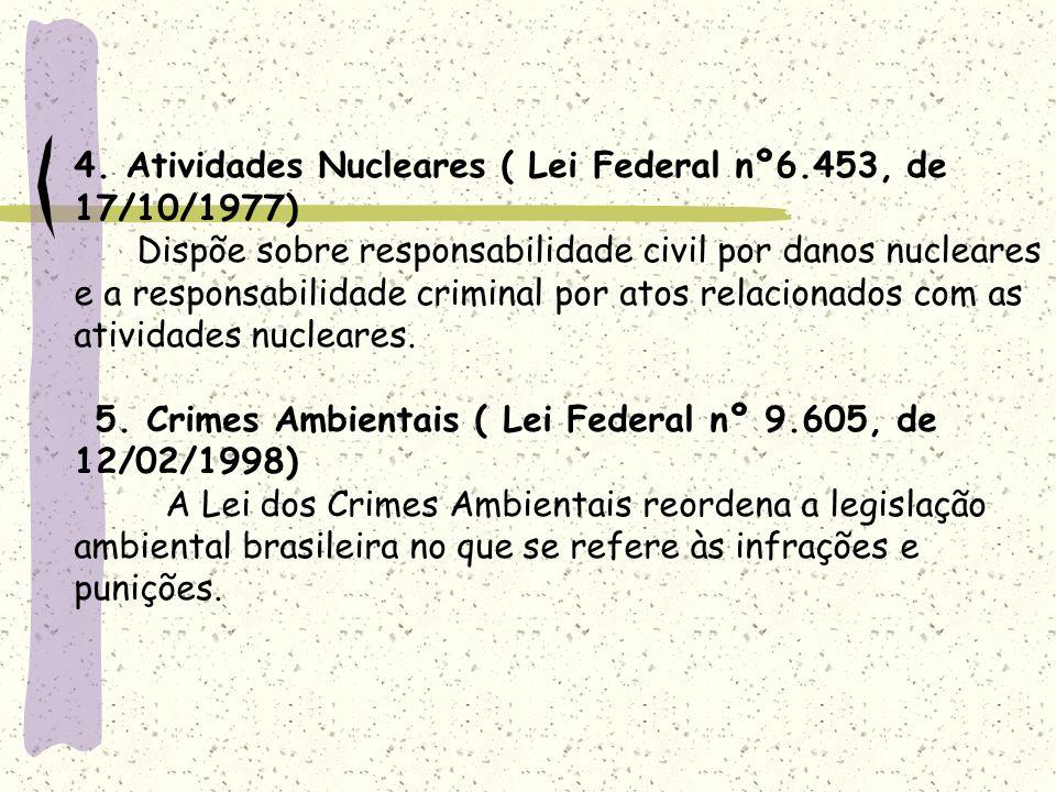 4. Atividades Nucleares ( Lei Federal nº6.453, de 17/10/1977) Dispõe sobre responsabilidade civil por danos nucleares e a responsabilidade criminal po