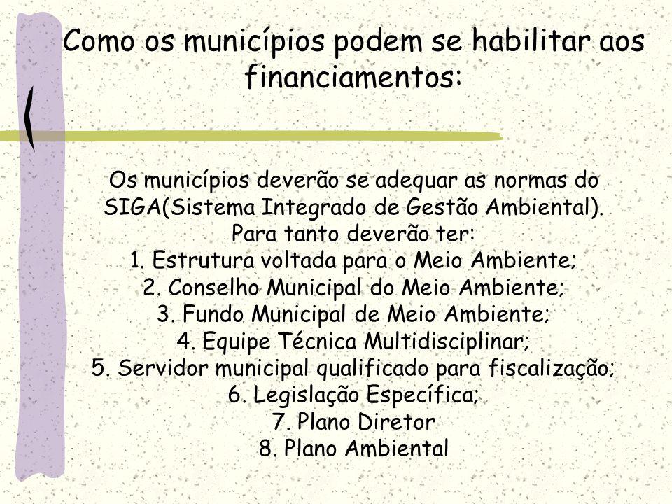Como os municípios podem se habilitar aos financiamentos: Os municípios deverão se adequar as normas do SIGA(Sistema Integrado de Gestão Ambiental). P
