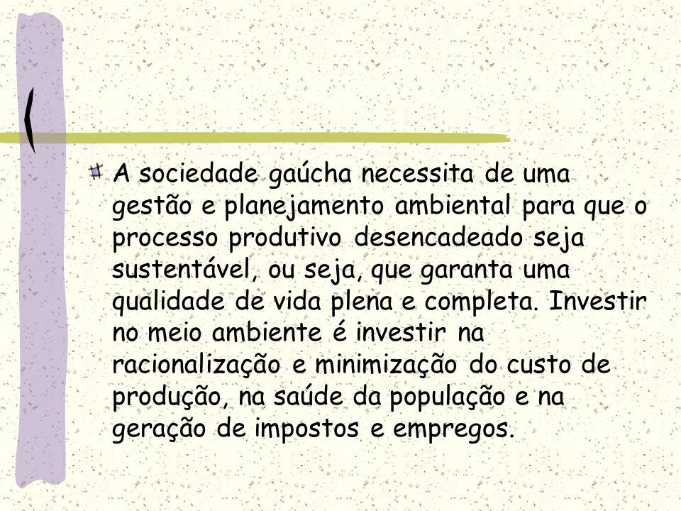 A sociedade gaúcha necessita de uma gestão e planejamento ambiental para que o processo produtivo desencadeado seja sustentável, ou seja, que garanta