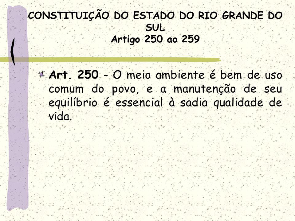 CONSTITUIÇÃO DO ESTADO DO RIO GRANDE DO SUL Artigo 250 ao 259 Art. 250 - O meio ambiente é bem de uso comum do povo, e a manutenção de seu equilíbrio
