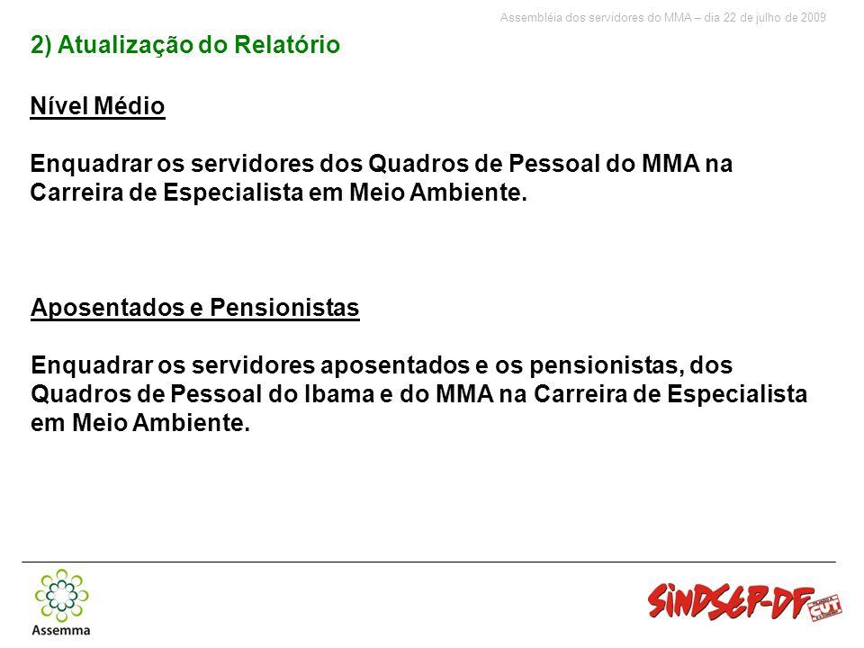 Assembléia dos servidores do MMA – dia 22 de julho de 2009 Nível Médio Enquadrar os servidores dos Quadros de Pessoal do MMA na Carreira de Especialista em Meio Ambiente.