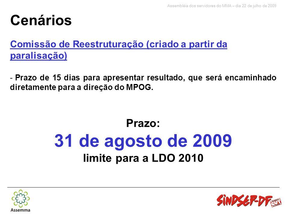 Assembléia dos servidores do MMA – dia 22 de julho de 2009 Cenários Comissão de Reestruturação (criado a partir da paralisação) - Prazo de 15 dias para apresentar resultado, que será encaminhado diretamente para a direção do MPOG.