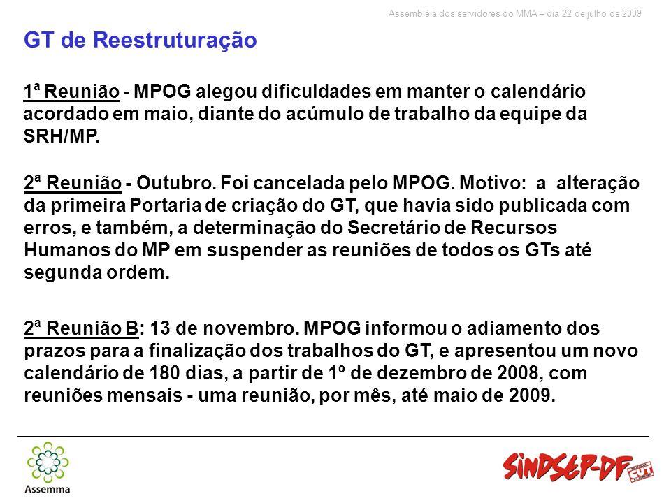 Assembléia dos servidores do MMA – dia 22 de julho de 2009 GT de Reestruturação 1 a Reunião - MPOG alegou dificuldades em manter o calendário acordado em maio, diante do acúmulo de trabalho da equipe da SRH/MP.