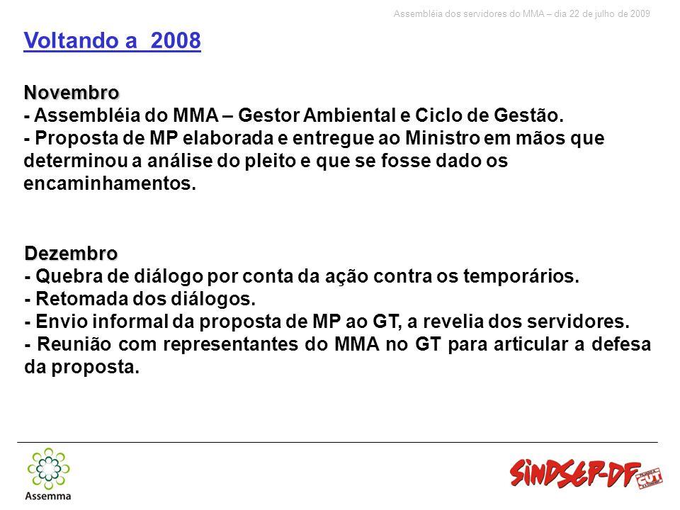 Assembléia dos servidores do MMA – dia 22 de julho de 2009 Voltando a 2008Novembro - Assembléia do MMA – Gestor Ambiental e Ciclo de Gestão.