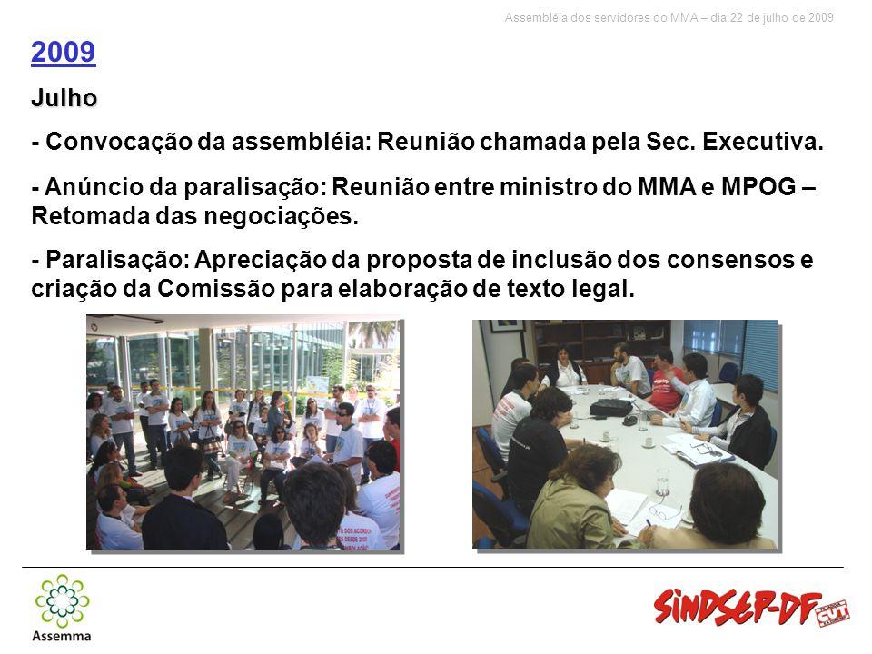 Assembléia dos servidores do MMA – dia 22 de julho de 2009 2009Julho - Convocação da assembléia: Reunião chamada pela Sec.