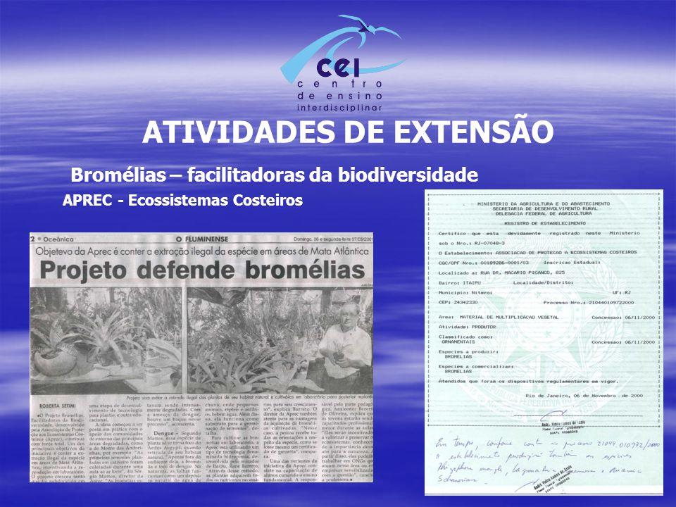 ATIVIDADES DE EXTENSÃO Bromélias – facilitadoras da biodiversidade APREC - Ecossistemas Costeiros