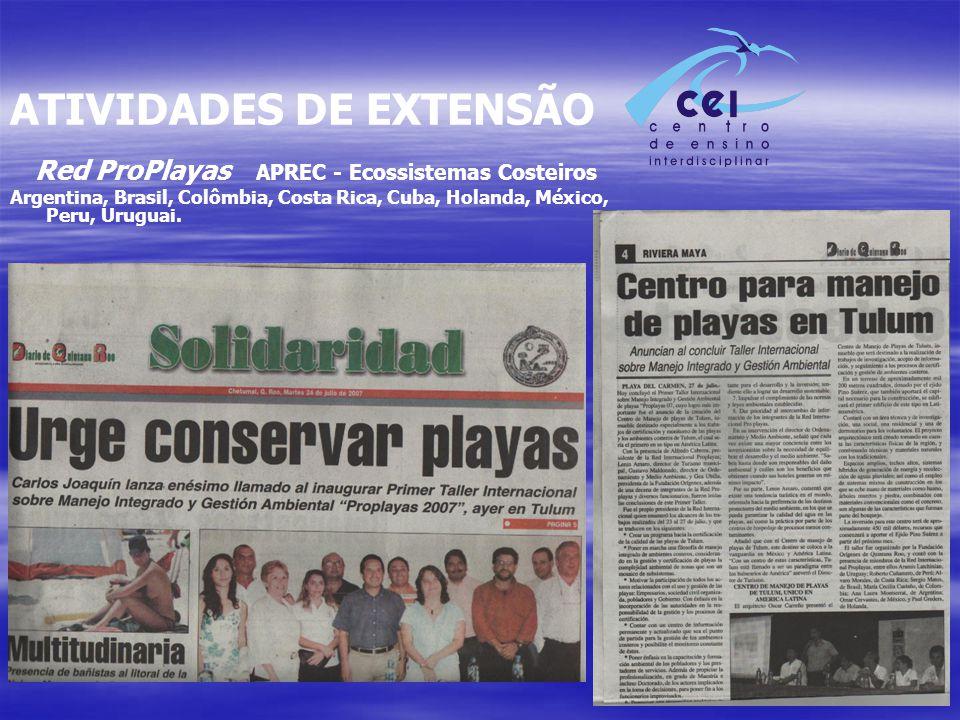 ATIVIDADES DE EXTENSÃO Red ProPlayas APREC - Ecossistemas Costeiros Argentina, Brasil, Colômbia, Costa Rica, Cuba, Holanda, México, Peru, Uruguai.