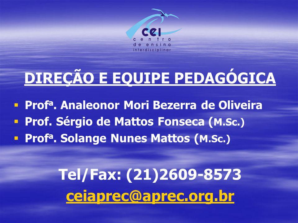 DIREÇÃO E EQUIPE PEDAGÓGICA   Prof a. Analeonor Mori Bezerra de Oliveira   Prof. Sérgio de Mattos Fonseca ( M.Sc.)   Prof a. Solange Nunes Matto