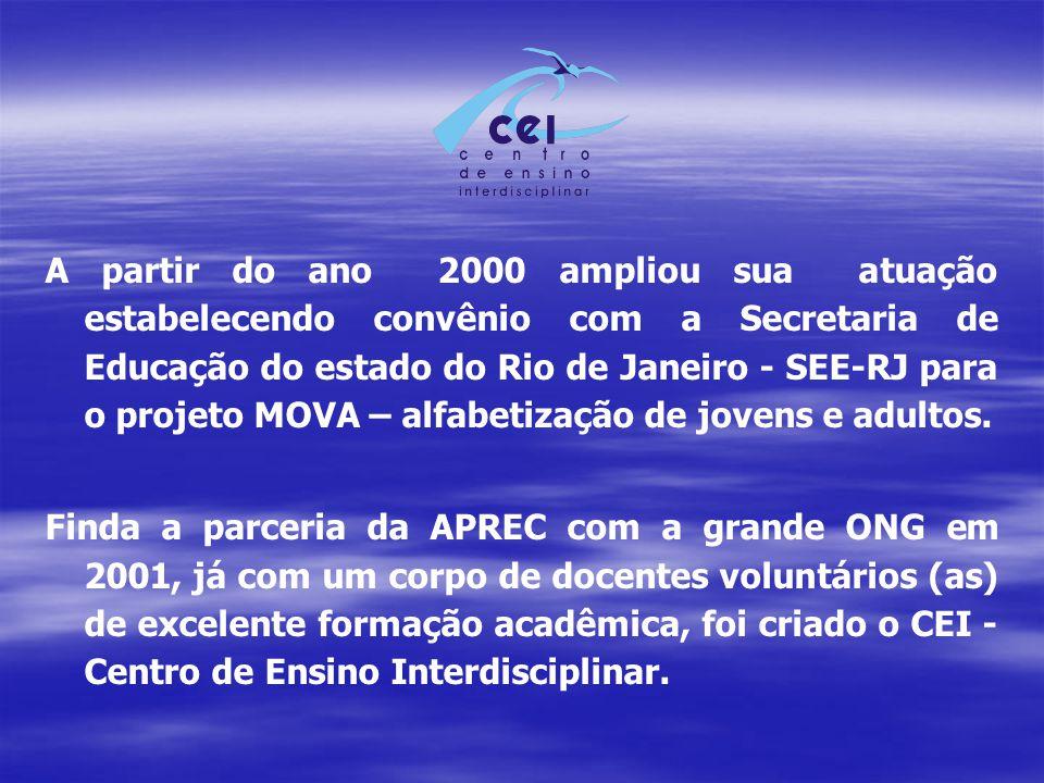 A partir do ano 2000 ampliou sua atuação estabelecendo convênio com a Secretaria de Educação do estado do Rio de Janeiro - SEE-RJ para o projeto MOVA – alfabetização de jovens e adultos.