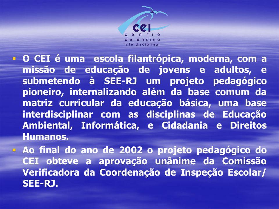   O CEI é uma escola filantrópica, moderna, com a missão de educação de jovens e adultos, e submetendo à SEE-RJ um projeto pedagógico pioneiro, internalizando além da base comum da matriz curricular da educação básica, uma base interdisciplinar com as disciplinas de Educação Ambiental, Informática, e Cidadania e Direitos Humanos.