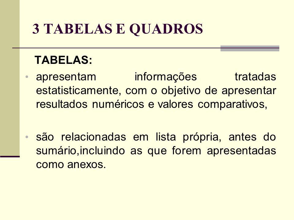 3 TABELAS E QUADROS TABELAS: apresentam informações tratadas estatisticamente, com o objetivo de apresentar resultados numéricos e valores comparativos, são relacionadas em lista própria, antes do sumário,incluindo as que forem apresentadas como anexos.