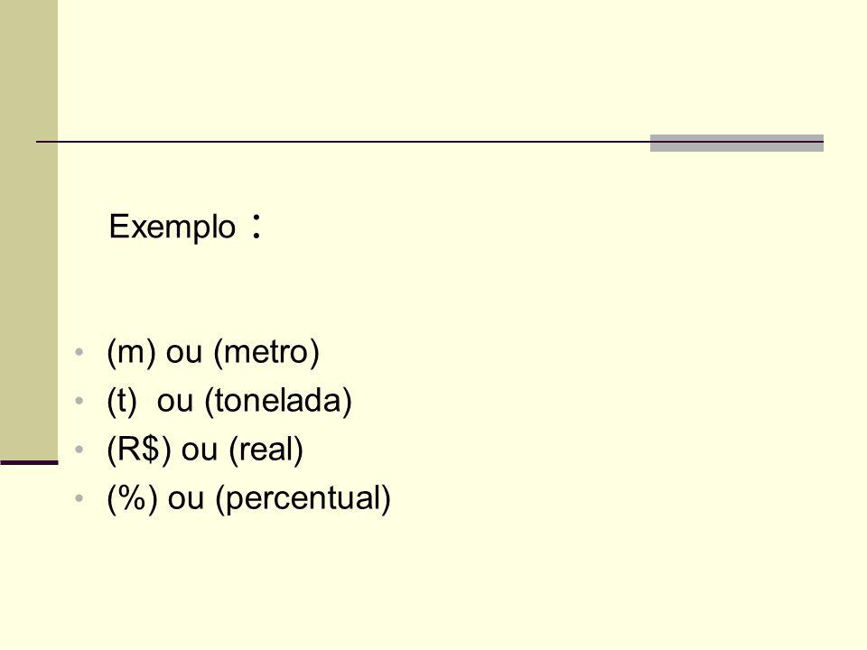Exemplo : (m) ou (metro) (t) ou (tonelada) (R$) ou (real) (%) ou (percentual)