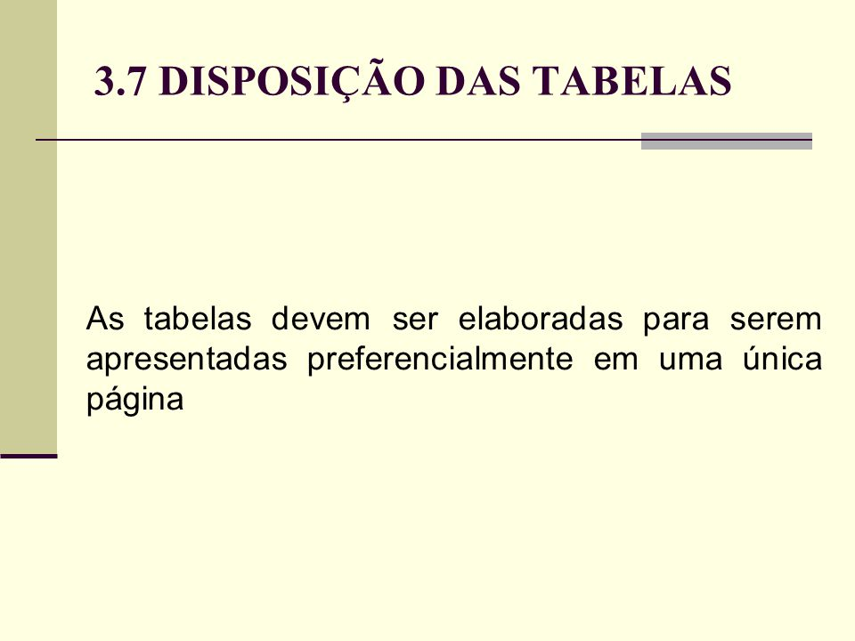 3.7 DISPOSIÇÃO DAS TABELAS As tabelas devem ser elaboradas para serem apresentadas preferencialmente em uma única página