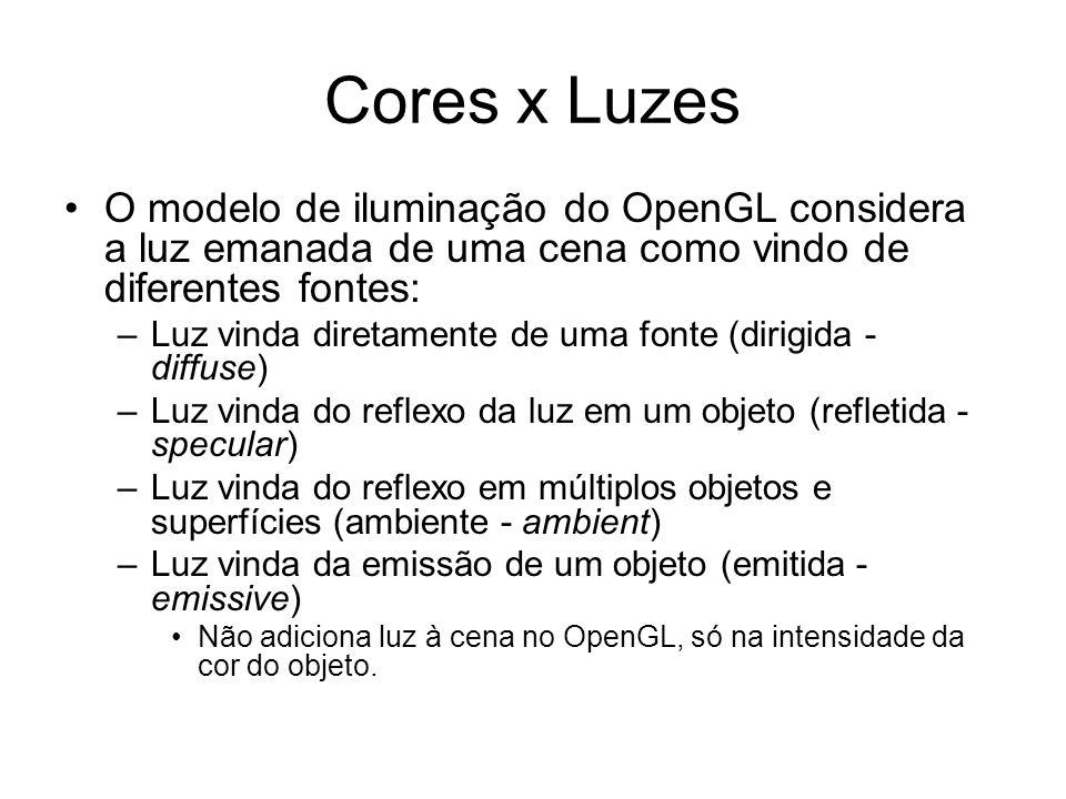 Cores x Luzes O modelo de iluminação do OpenGL considera a luz emanada de uma cena como vindo de diferentes fontes: –Luz vinda diretamente de uma font
