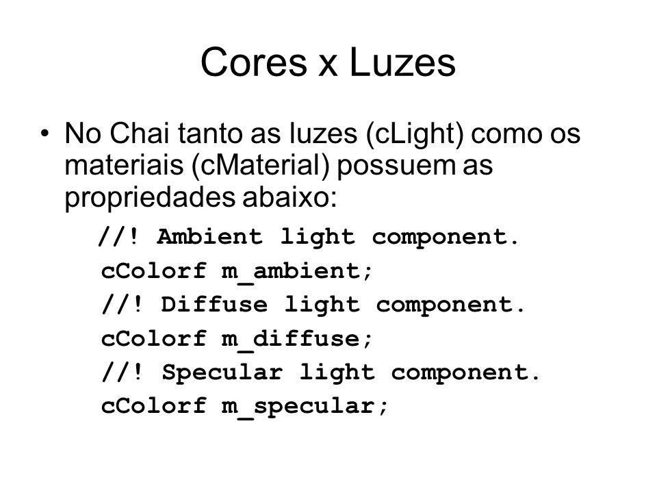Cores x Luzes No Chai tanto as luzes (cLight) como os materiais (cMaterial) possuem as propriedades abaixo: //! Ambient light component. cColorf m_amb