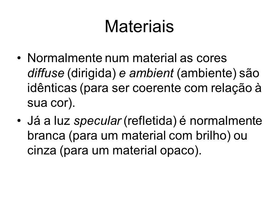Materiais Normalmente num material as cores diffuse (dirigida) e ambient (ambiente) são idênticas (para ser coerente com relação à sua cor). Já a luz