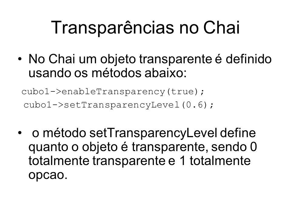 Transparências no Chai No Chai um objeto transparente é definido usando os métodos abaixo: cubo1->enableTransparency(true); cubo1->setTransparencyLevel(0.6); o método setTransparencyLevel define quanto o objeto é transparente, sendo 0 totalmente transparente e 1 totalmente opcao.