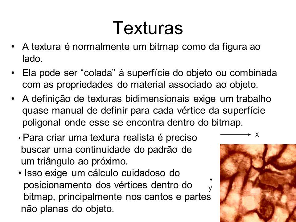 """Texturas A textura é normalmente um bitmap como da figura ao lado. Ela pode ser """"colada"""" à superfície do objeto ou combinada com as propriedades do ma"""