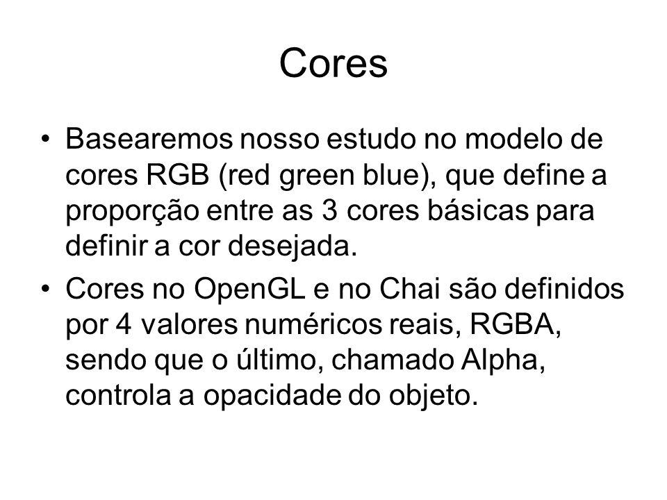 Cores Basearemos nosso estudo no modelo de cores RGB (red green blue), que define a proporção entre as 3 cores básicas para definir a cor desejada. Co