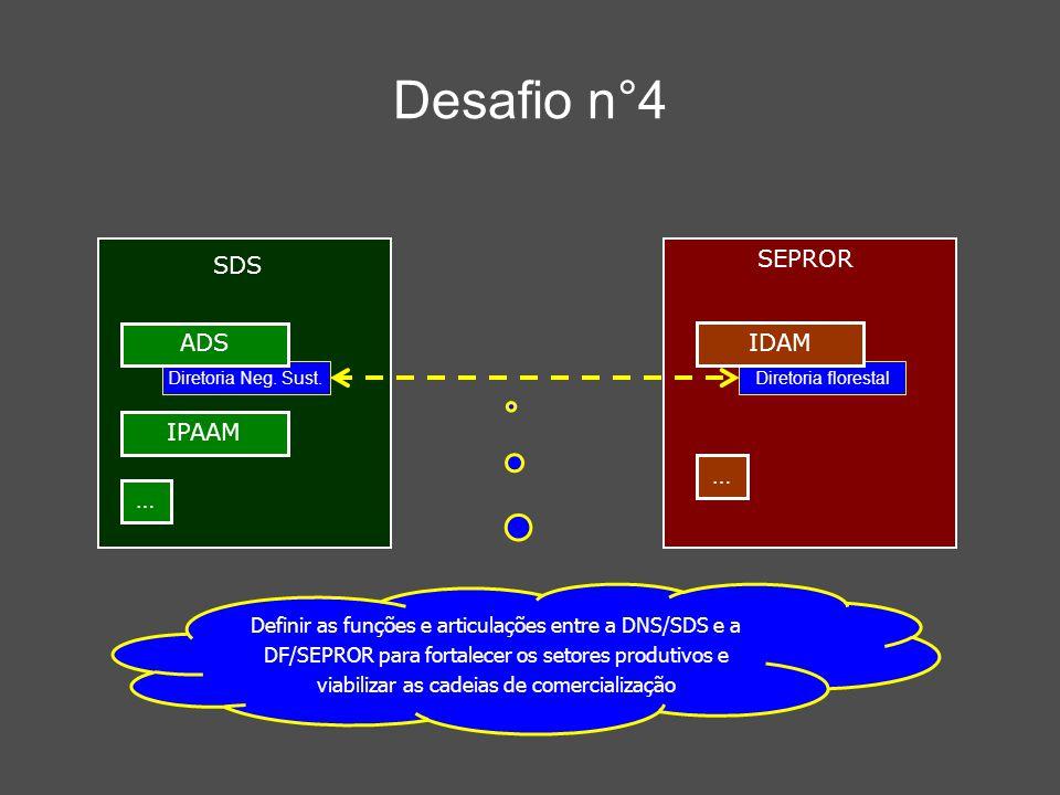 Desafio n°4 Definir as funções e articulações entre a DNS/SDS e a DF/SEPROR para fortalecer os setores produtivos e viabilizar as cadeias de comercial